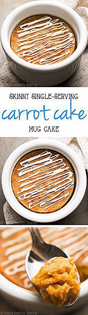 Skinny Single-Serving Carrot Cake Mug Cake -- just 115 calories & nearly 6g of protein! Basically healthy enough for breakfast! | healthy mug cake recipe | easy mug cake recipe | no egg mug cake #proteinmugcakes