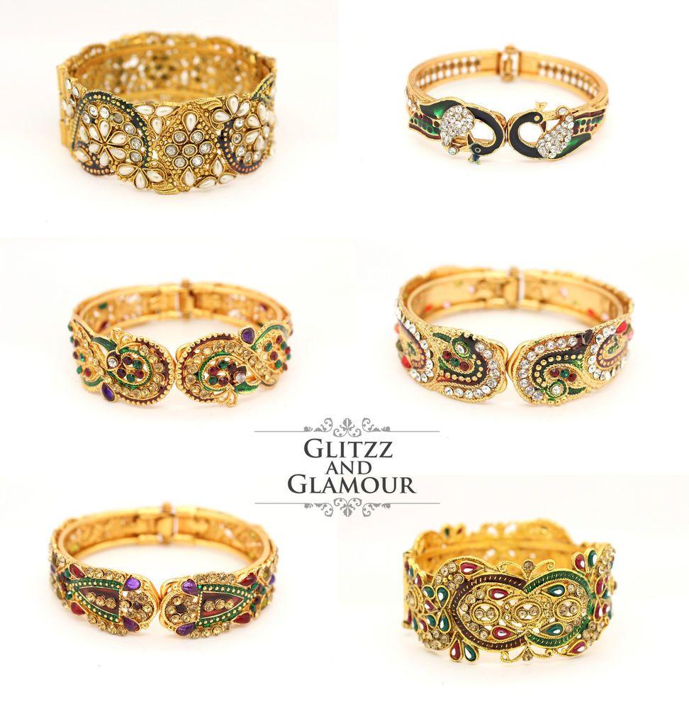 Gold kundan art pearl indian bangle bracelet churi kangan ...