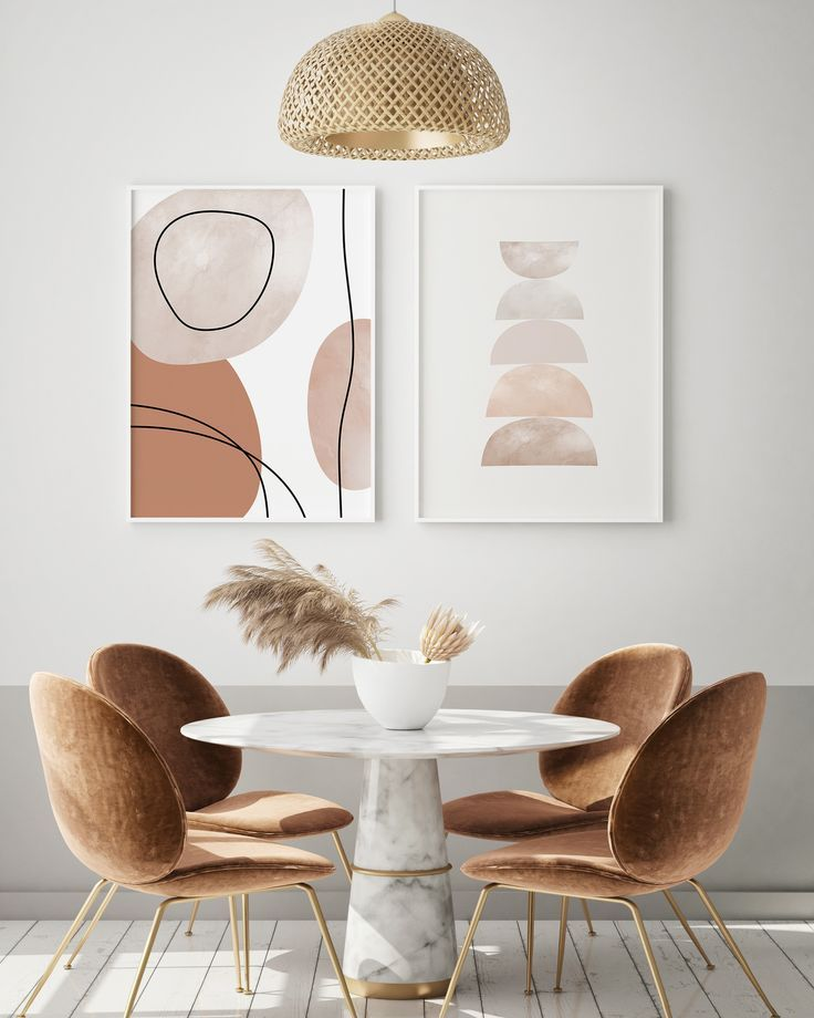 Mid Century Modern Neutral Printable Wall Art Set of 2, Abstract Earth Tones Art Print Set, Geometri
