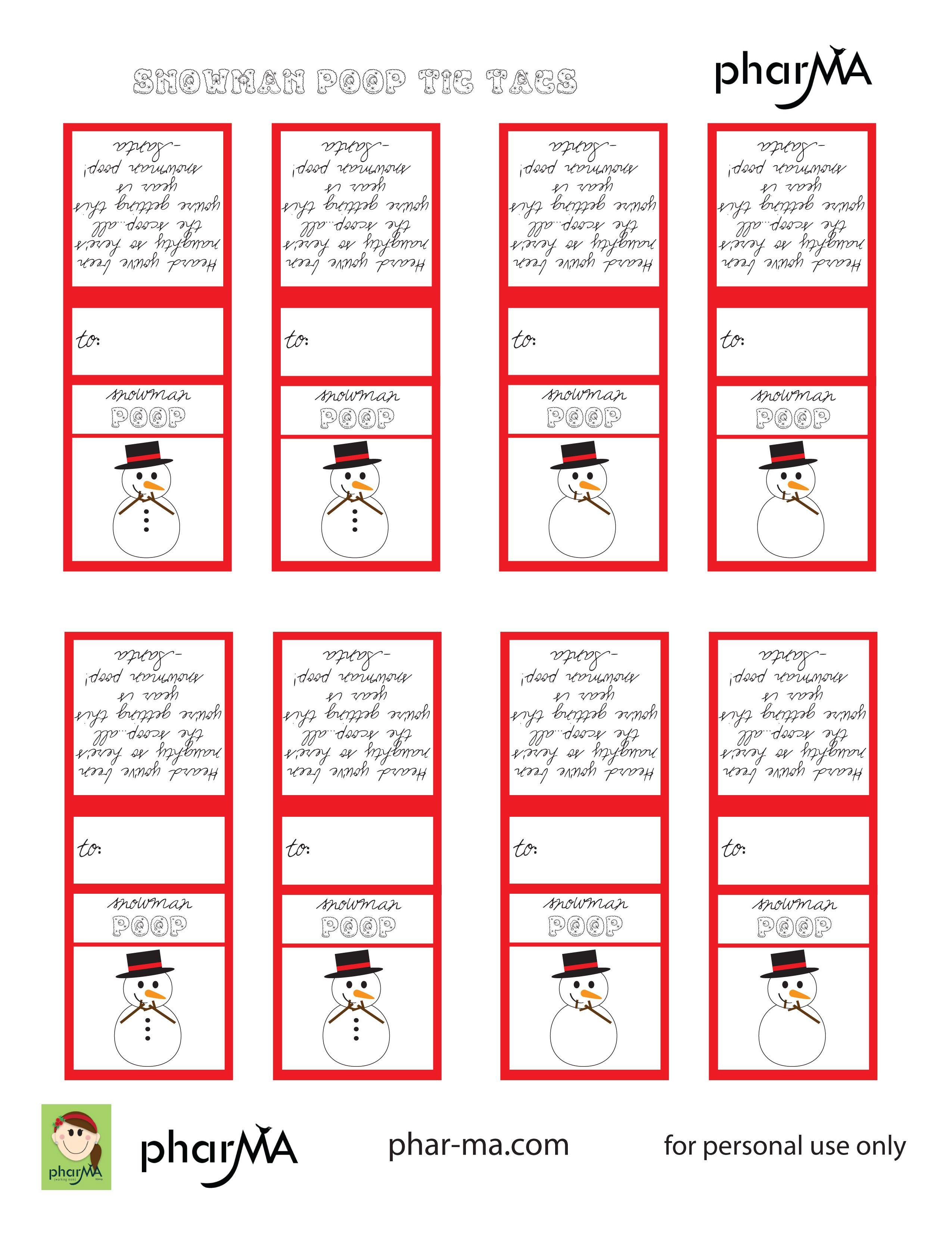 Snowman Poop Tic Tac Labels Recipes Snowman Poop Snowman Christmas