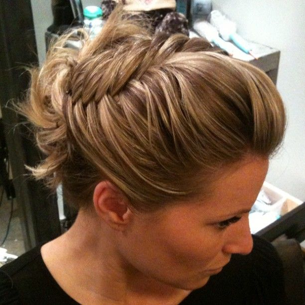 hairstyles with poof front sideswept fishbone braid updo