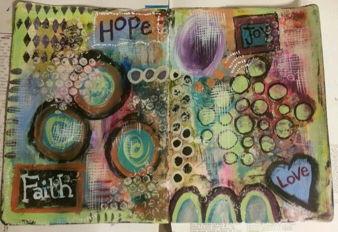 Lots of acrylics, inks, stencils, gesso, bubble wrap, and a variety of emotions. #art #artjournal #journal #mixedmedia #artexpression