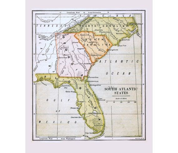 southern atlantic states map Antique Map Of Florida And South Atlantic States Of The By Workbox