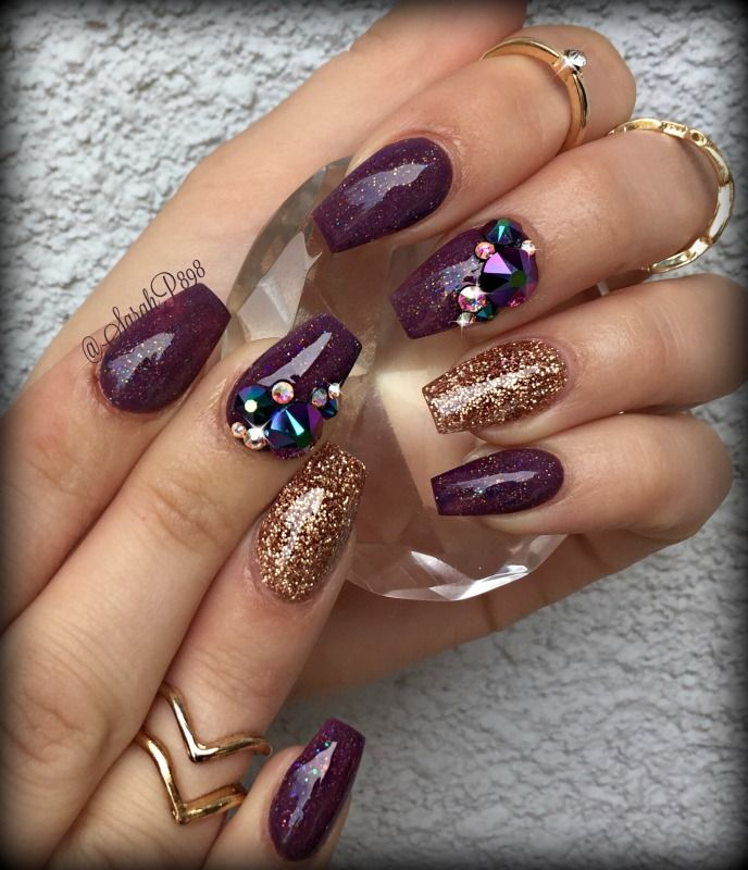 fall colored coffin nails | Nail Art | Pinterest