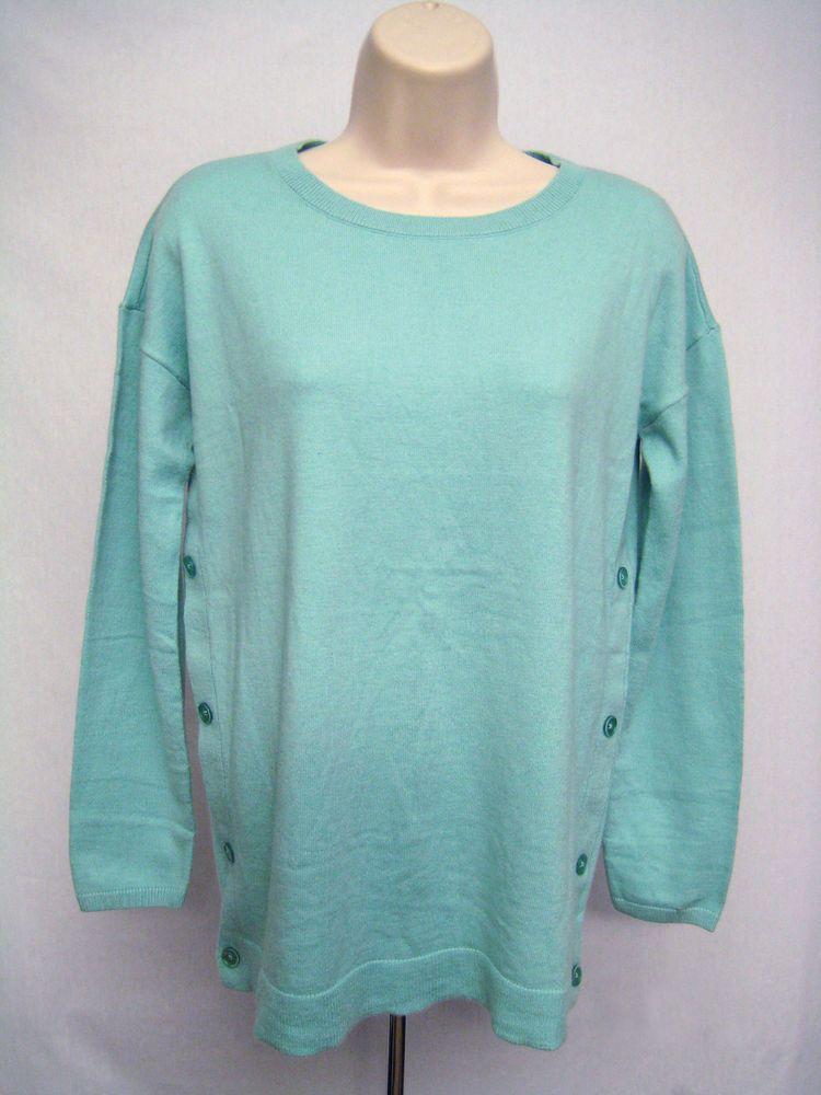 974596dd52c6 Talbots Round Crew Neck Sweater Women Size XS Light Blue Side Button ...