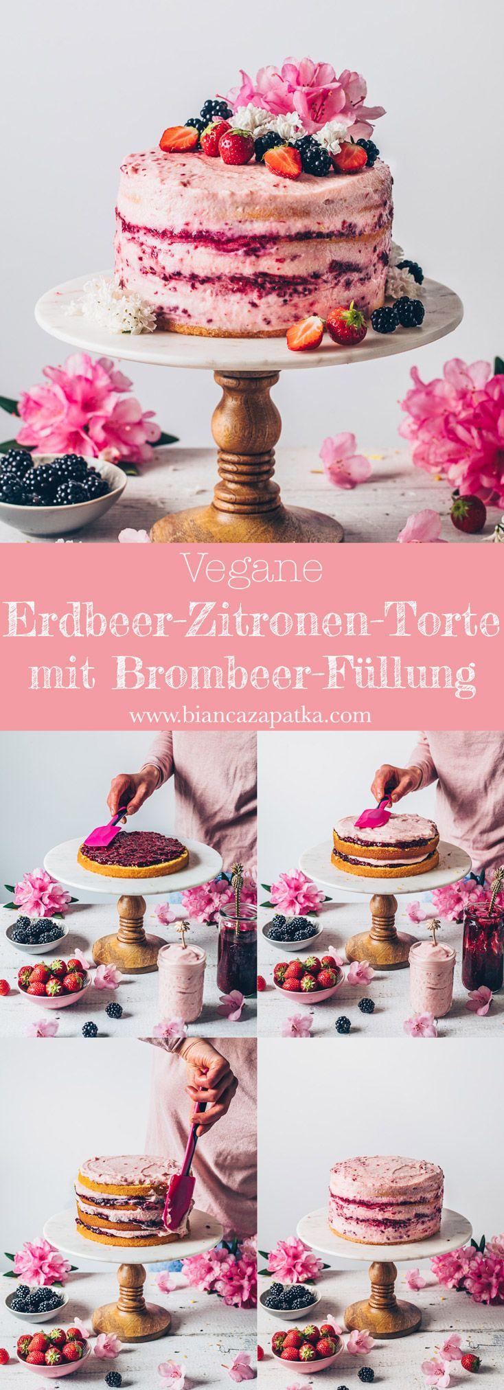 Erdbeer-Zitronen-Torte mit Brombeer-Marmelade - Bianca Zapatka | Rezepte #savourycake