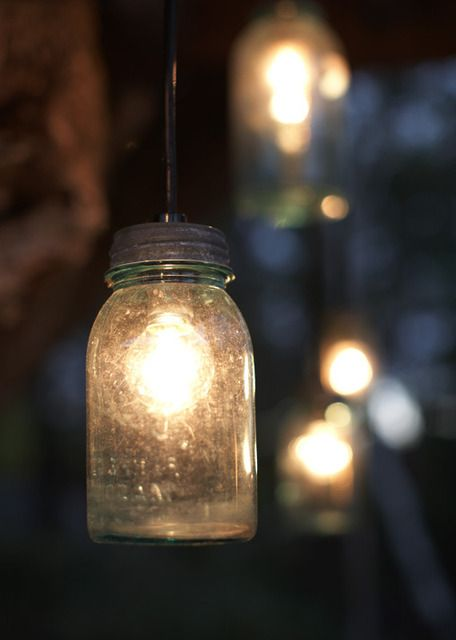 deck lights - brilliant! save those jars! i'm a jar horder so this works :D