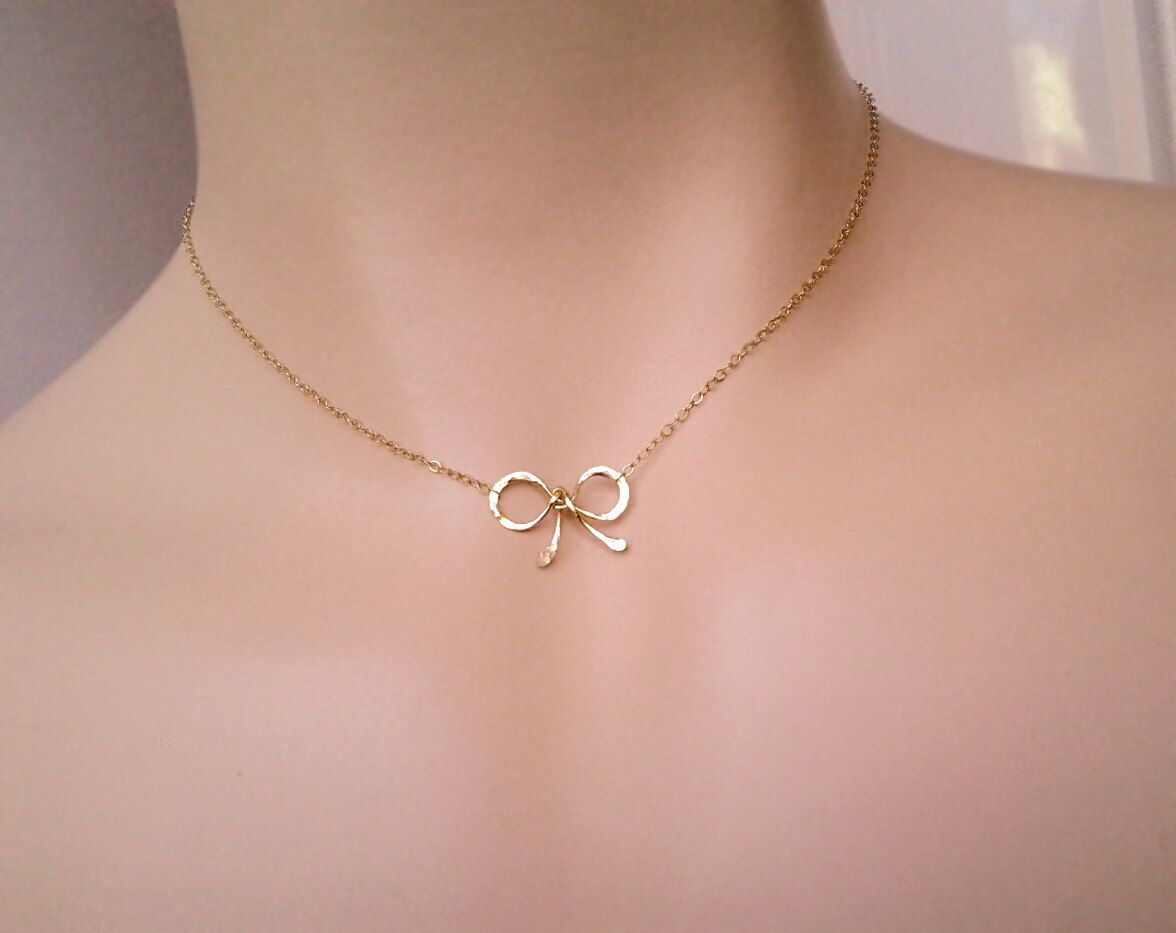 Gold Choker, Bow Necklace - Tiny ,Sweet 16 gift, Bow Pendant ...