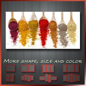 Spices In Spoon Kitchen Art U0027 Foodu0026Drink Modern Kitchen Wall Art Deco Canvas