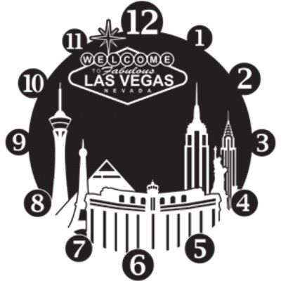 Style and Apply Las Vegas Wall Clock Wall Decal Wall