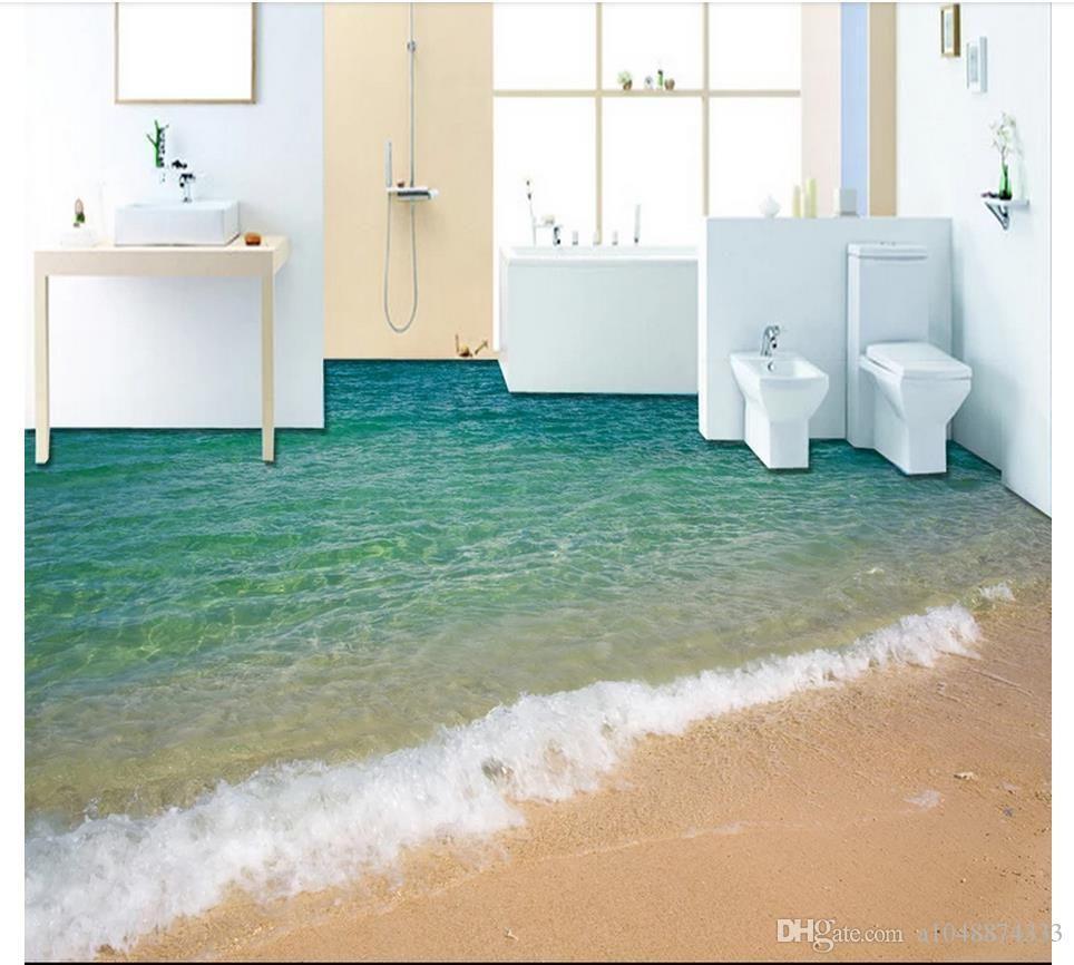 Grosshandel Wholesale Custom Photo Floor Wallpaper 3d Meer Ozean Strand Boden Badezimmer Wohnzimmer 3d Bodenbelag Selbstklebende Bodendekor Malerei Von A10488743 3d Bodenbelag Bodenmalerei Wasserfester Bodenbelag