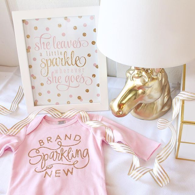 Major :heart_eyes:heart eyes:heart_eyes: going on over here in the #SprinkledDesigns studio today with all of this pink & gold action!! I mean, seriously, how precious is that little Brand Sparkling New newborn gown, and that @targetstyle unicorn lamp p