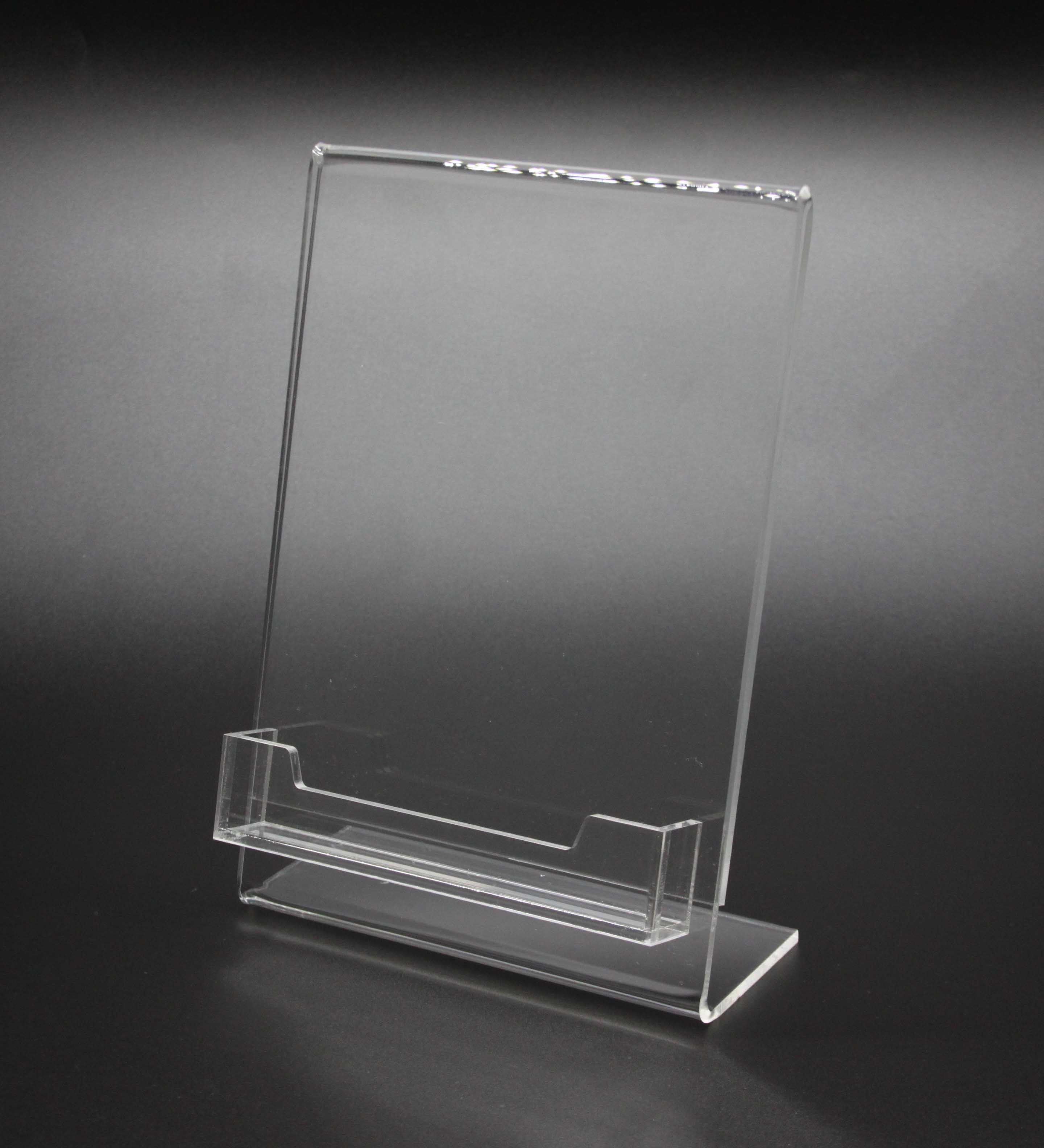 Lucite Plexiglass Clear Acrylic Slanted Sign Holder With Business Card Holder Plexiglass Clear Acrylic Cheap Picture Frames