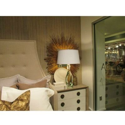 Soleil Mirror - Gold Leaf   Clayton Gray Home   decorative bedside starburst detail