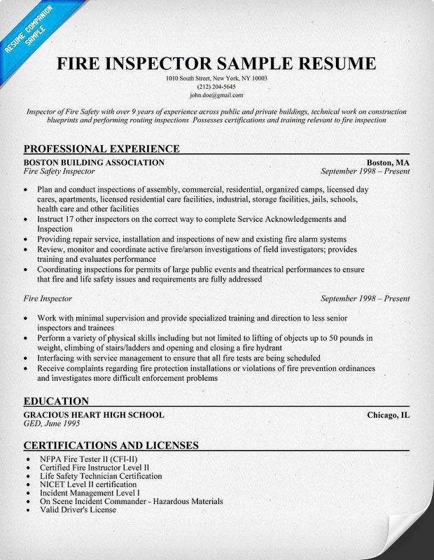 Fire Inspector Resume Sample Resume Samples Across All