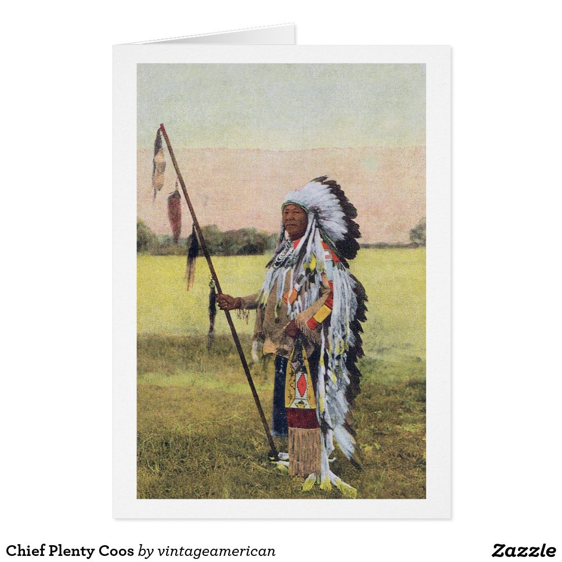 Native American Blank Folded Greeting Card Chief Plenty Coos
