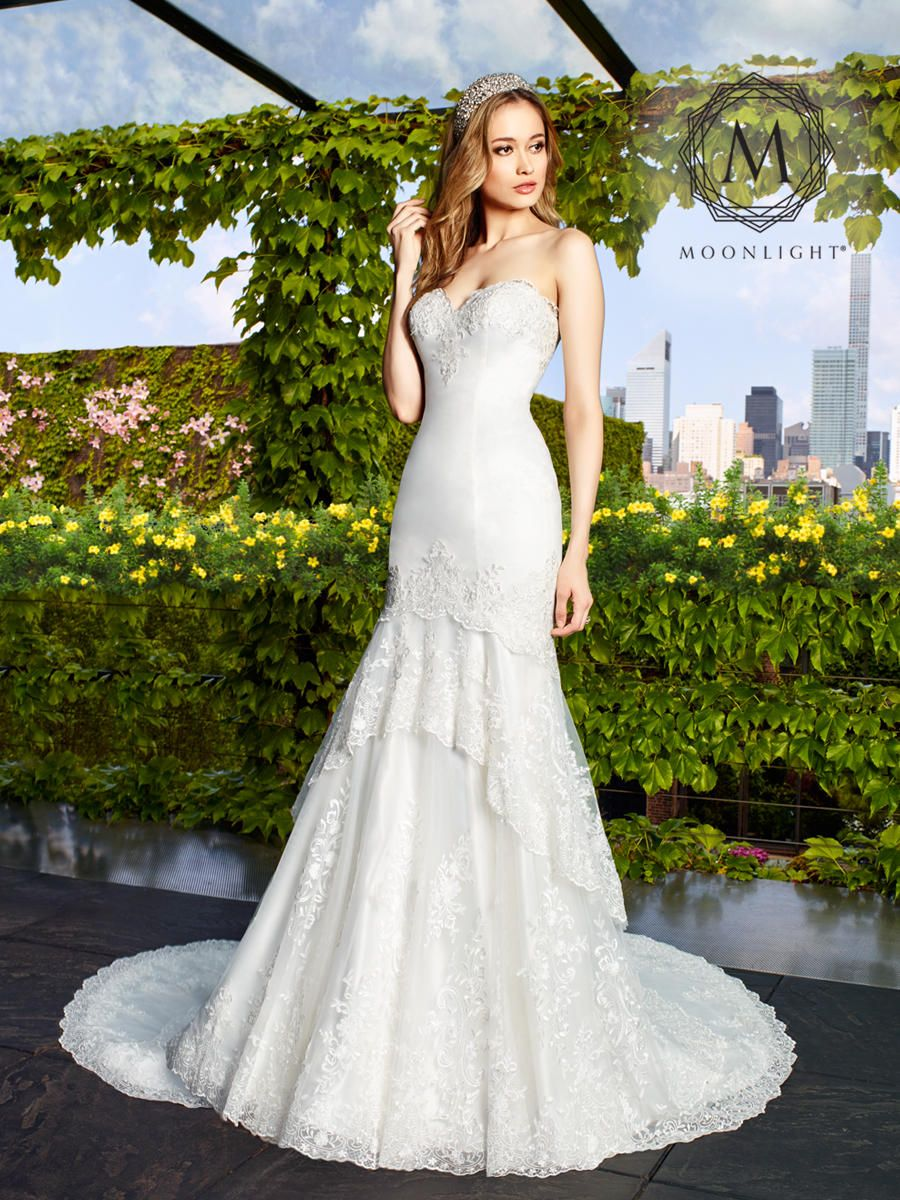 Madeline J6479 Tulle Drop Waist Strapless Mermaid Wedding Dress With Layers Is A Perfect Match For