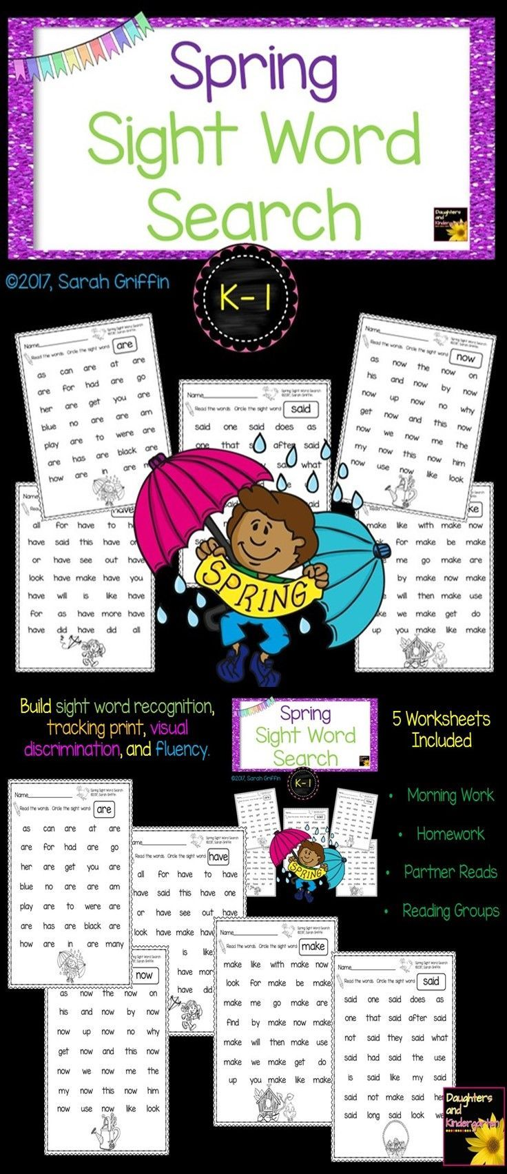 Spring sight word search worksheets morning work homework