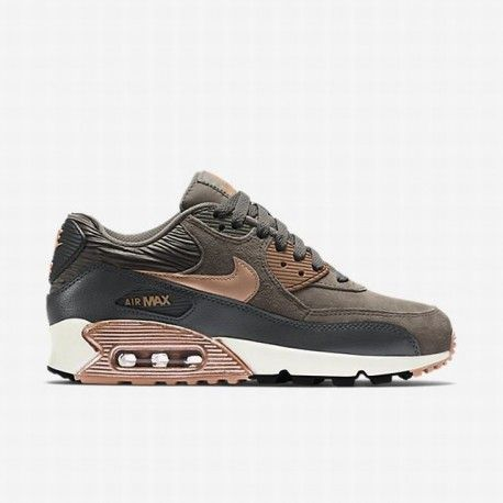 Nike Womens Shoes Air Max 90 Leather BlackDark GreyWhite