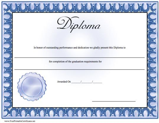 A basic diploma with a blue border and seal The word  - certificate of completion of training template