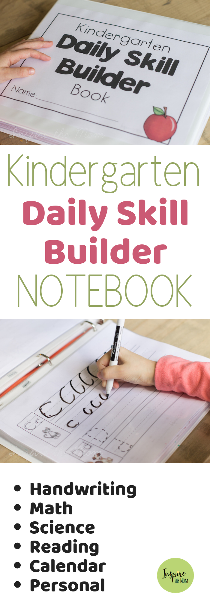 Kindergarten Daily Skill Builder Notebook - Inspire the Mom