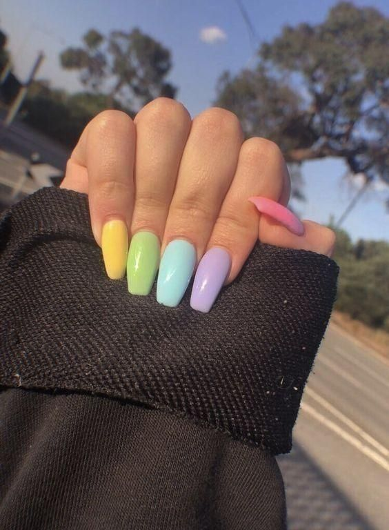 30 Charming Spring Nail Art Designs Ideas To Try In 2019 In 2020 Multicolored Nails Best Acrylic Nails Summer Acrylic Nails