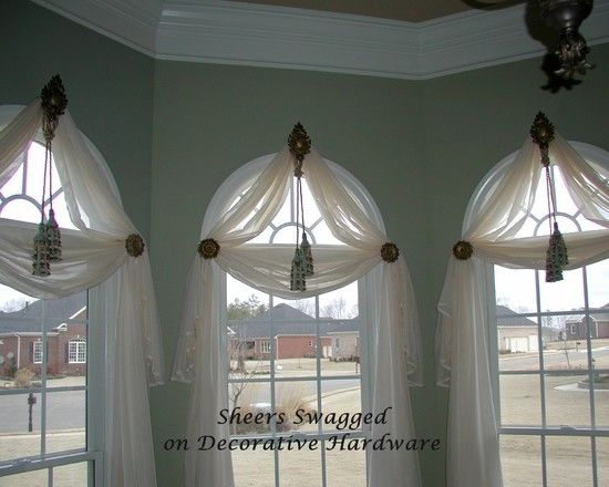 Arched Window Treatments--I like this, but will block chandelier from the road...