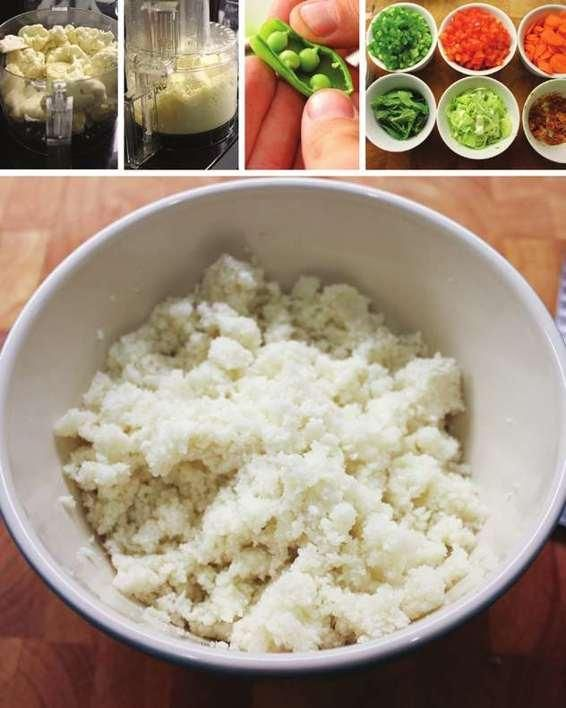 Serves 4 • Cook time 20 minutes You can add any protein your little heart desires: chicken, shrimp, steak, boar, camel, snake, turtle, whatever. You can also replace the vegetables with whatever you find at the market. INGREDIENTS 1 head cauliflower 1 tablespoon coconut oil 1 pound fresh snap peas, shucked 1 anaheim chile, seeded
