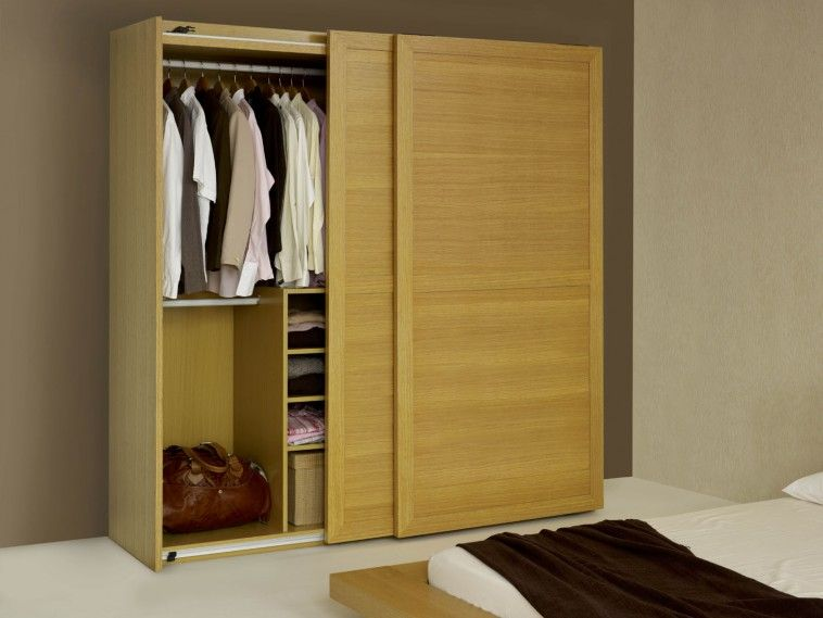 Brown Wooden Free Standing Wardrobe With Sliding Door And Racks Also White  Cloth Hook On The