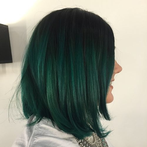Black To Green Ombre Bob More
