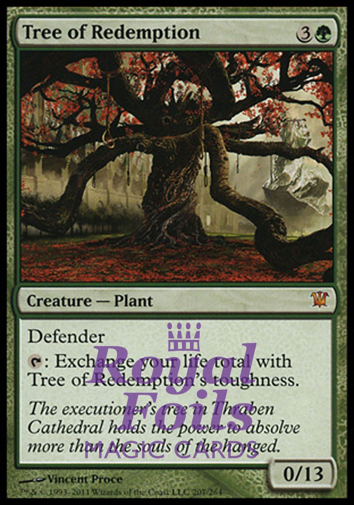 1x foil tree of redemption isd mtg innistrad mythic