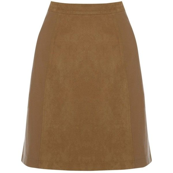 Oasis Suedette Patched A-Line Skirt, Tan ($30) ❤ liked on Polyvore featuring skirts, tan skirt, brown skirt, panel skirt, textured skirt and knee length a line skirt