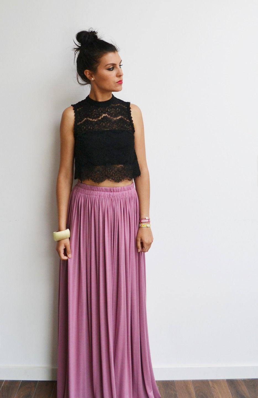 maxi jupe longue rose vintage en jersey taille haute fluide et pliss e tendance t style. Black Bedroom Furniture Sets. Home Design Ideas
