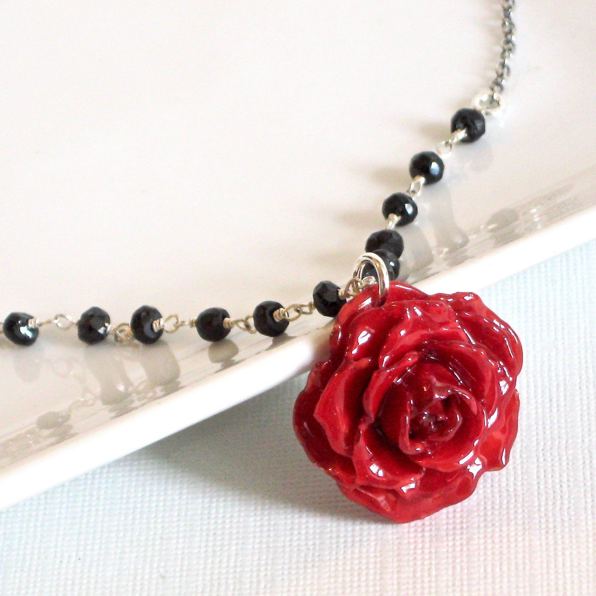 086abe0752287 Real Red Rose Necklace - Black Spinel Necklace, Sterling Silver ...