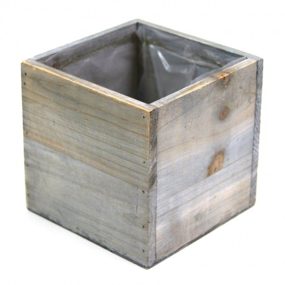 Rustic Square Cube Wood Vase Rustic Wooden Box Wood Vase Centerpiece Wood Vase