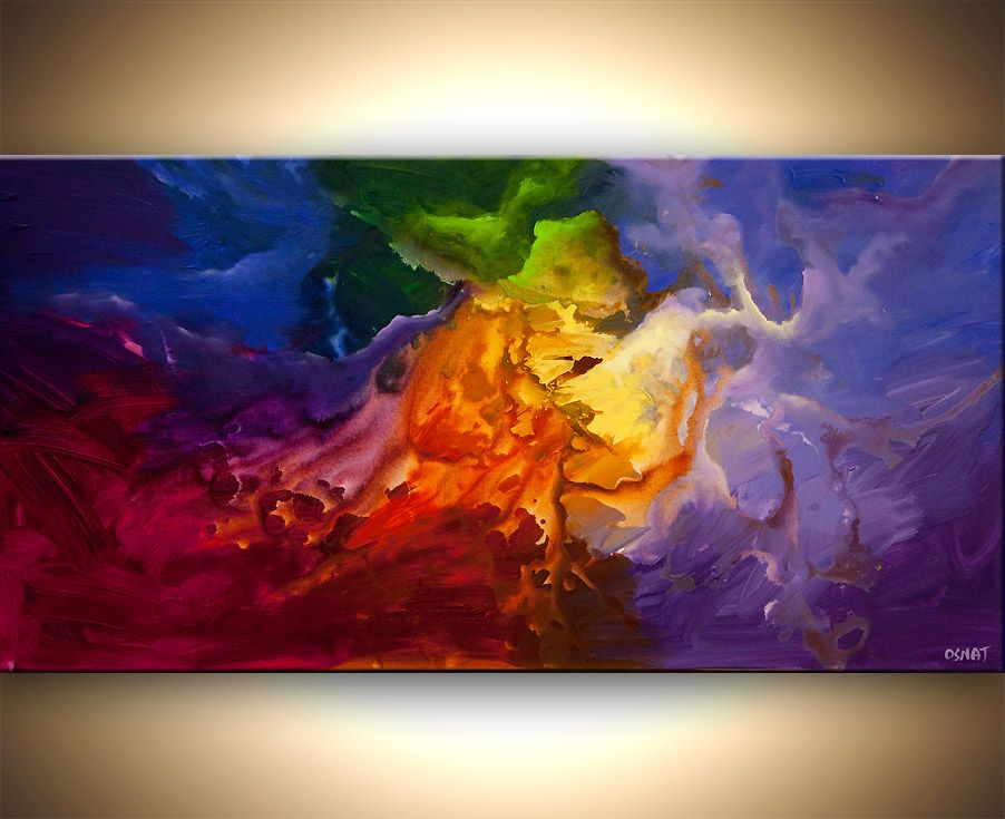Line Color Form : Original colorful abstract painting modern space acrylic by