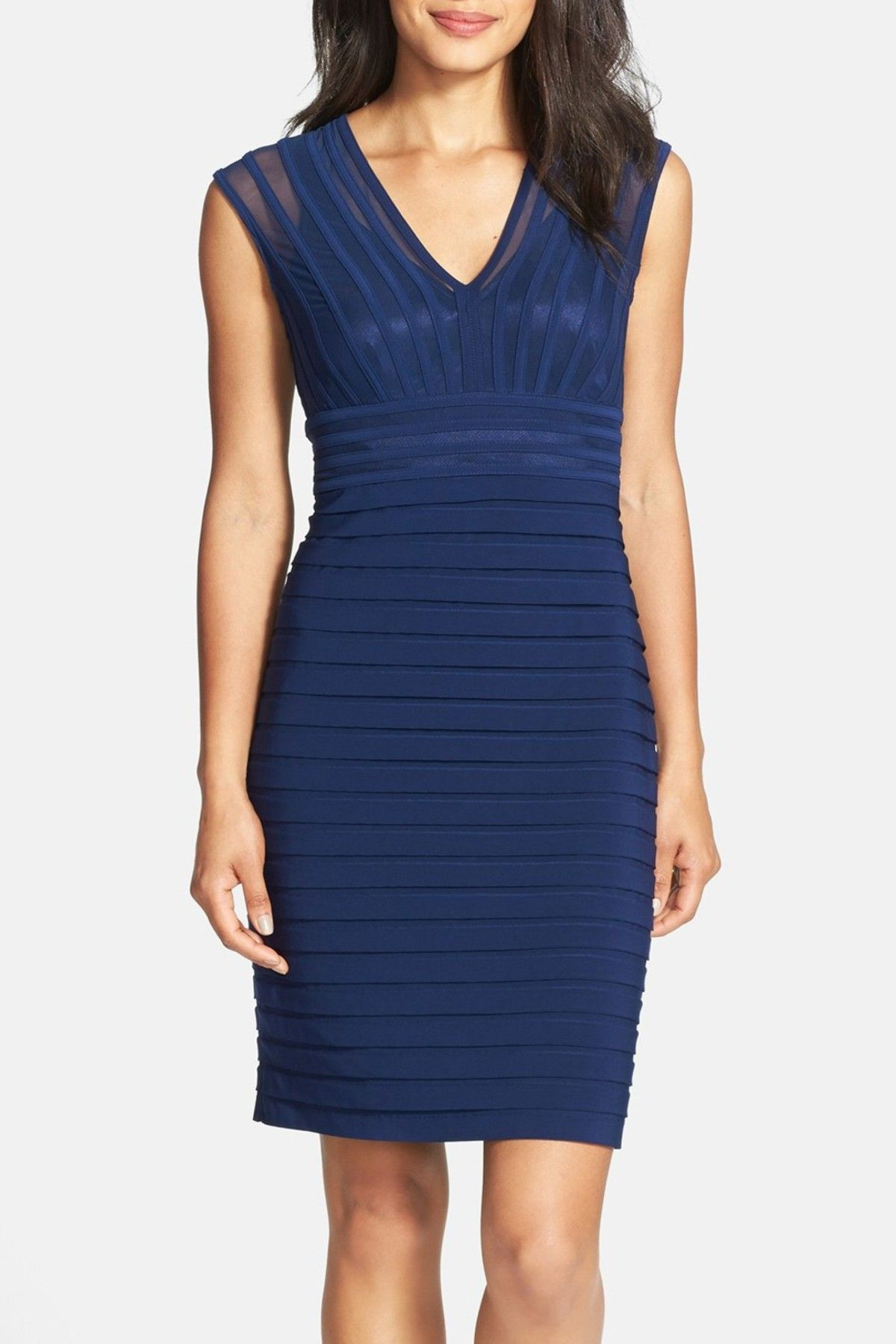 Sheath dresses for wedding guest  Adrianna Papell  Shutter Pleat Jersey Sheath Dress Petite  Products