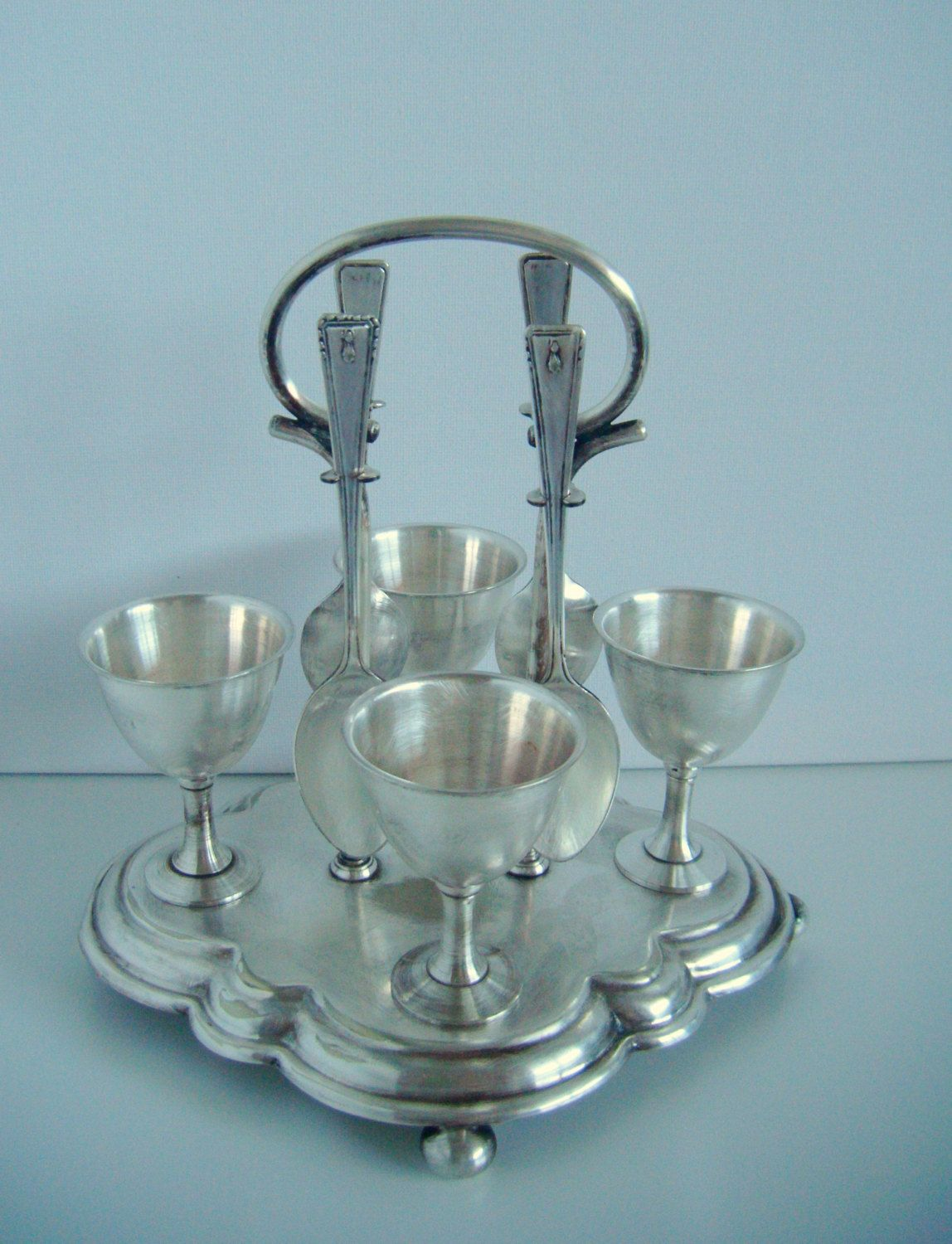 Vintage Silver Plated Egg Cup Amp Spoon Set Of 4 With Tray