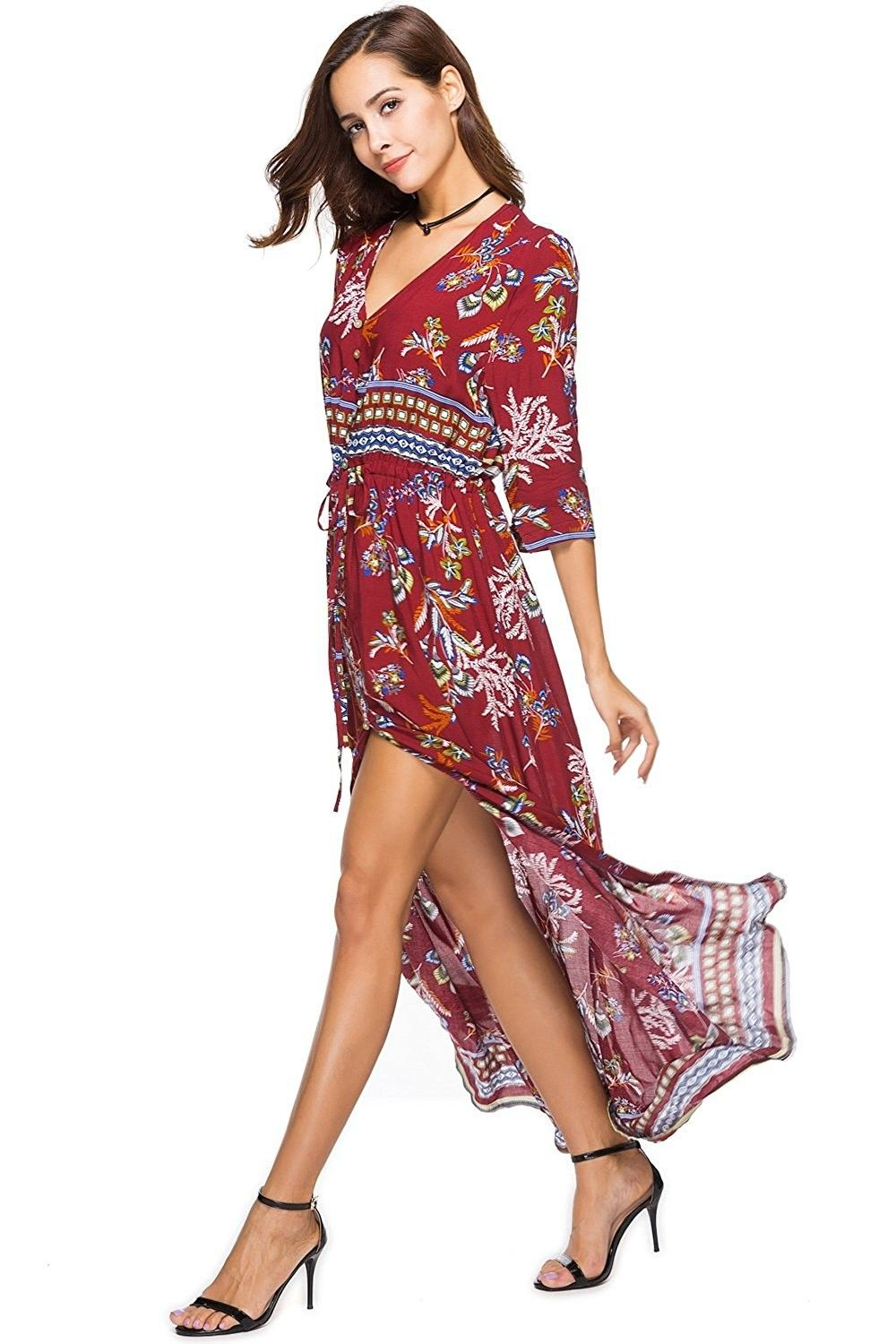 Women S Clothing Swimsuits Cover Ups Board Shorts Floral Print Dress 3 4 Sleeve Draws Summer Dresses For Women Vintage Summer Dresses Maxi Dresses Casual [ 1500 x 1000 Pixel ]