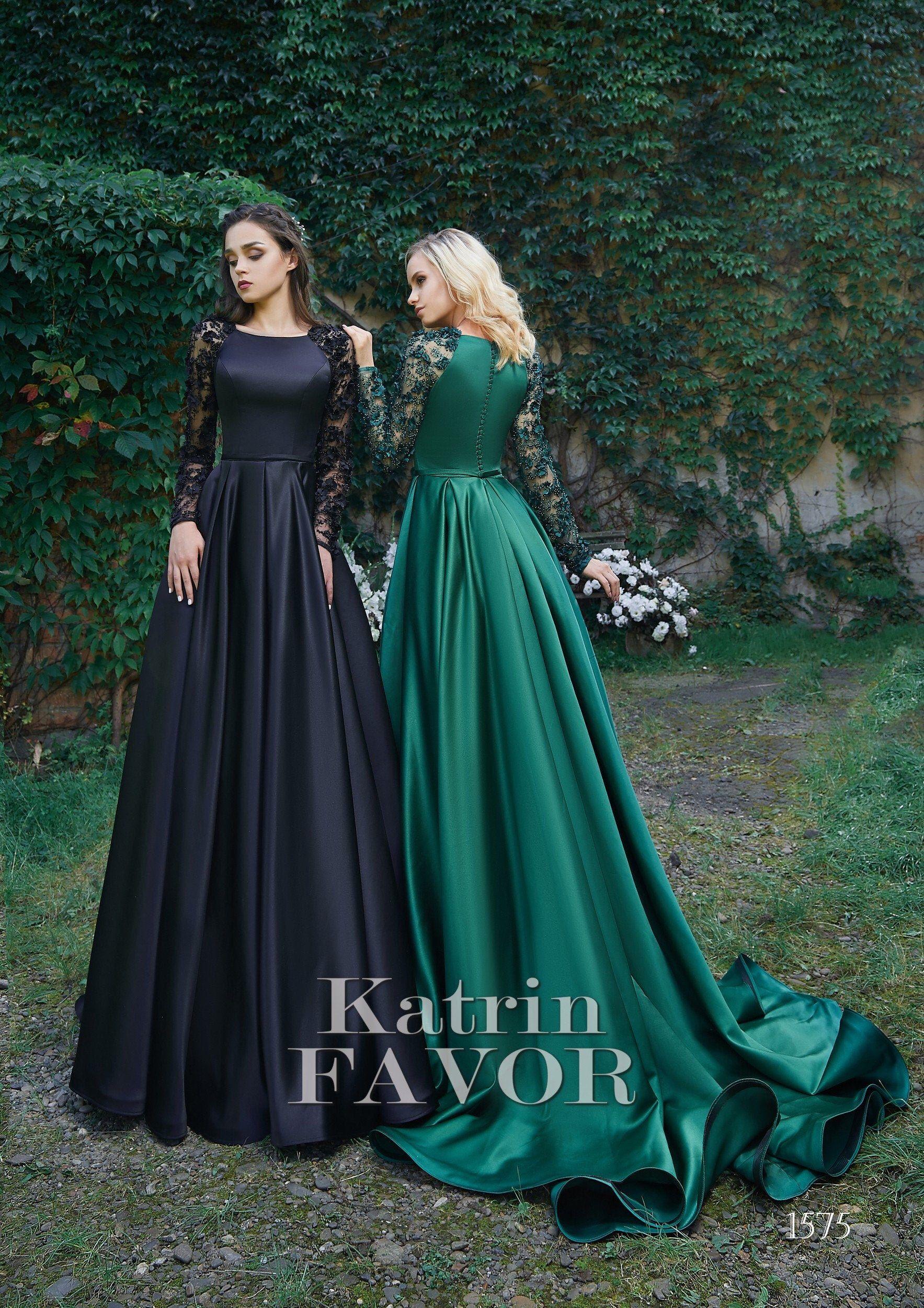 Black Wedding Dress Long Sleeve Dress Prom Dress Long Evening Etsy Prom Dresses Long With Sleeves Green Wedding Dresses Long Sleeve Evening Gowns [ 2500 x 1767 Pixel ]