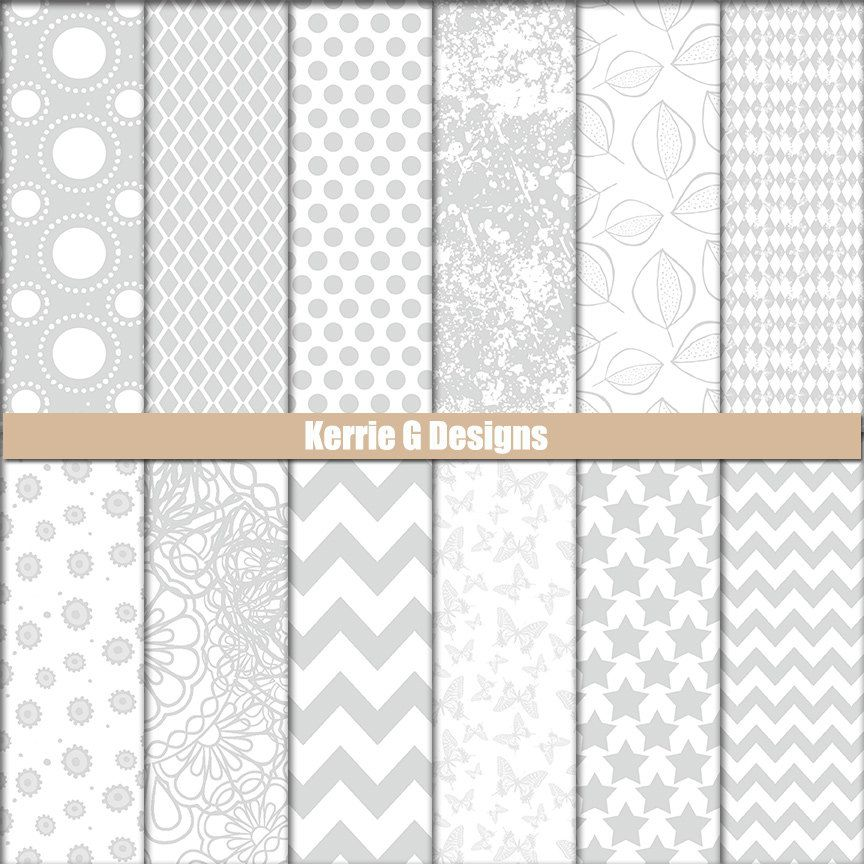 Grey Downloadable Paper - Grey Printable Cardstock - Grey and White