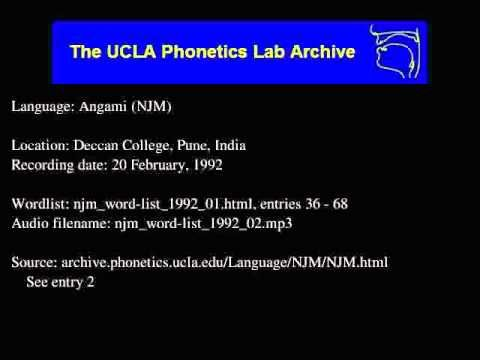 Words in the Angami language, recorded in 1992 at the UCLA