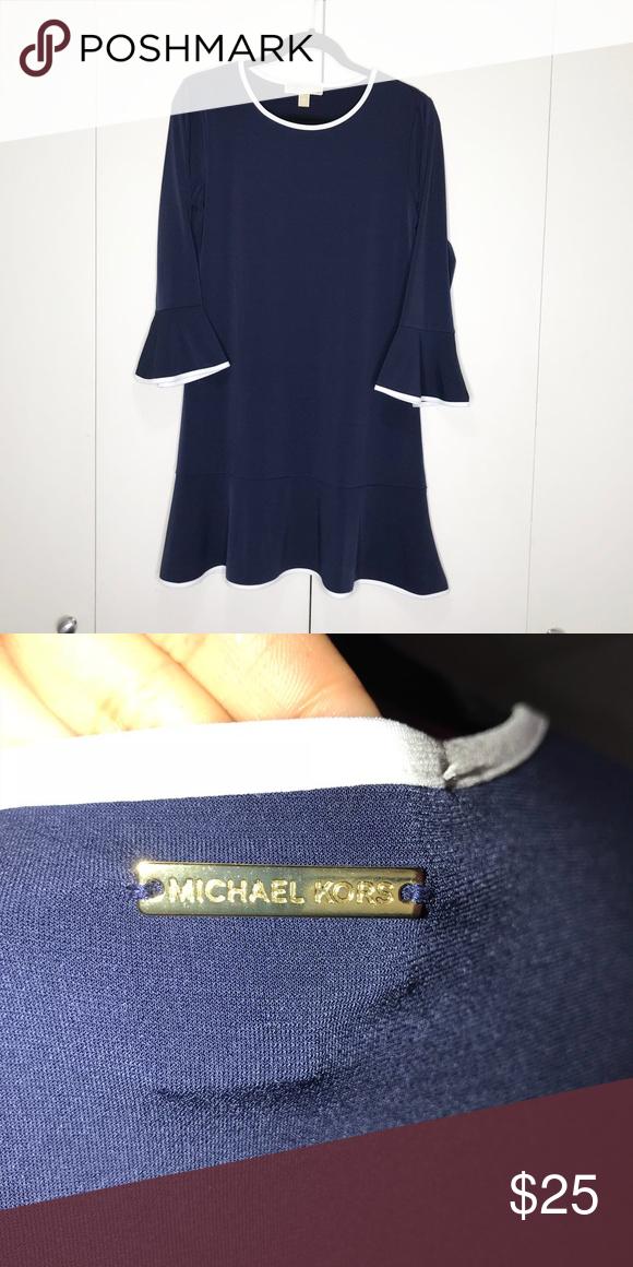 ce450a0c50b Micheal kors blue dress Stunning Michael Kors dress with white trim on hem  and long sleeves