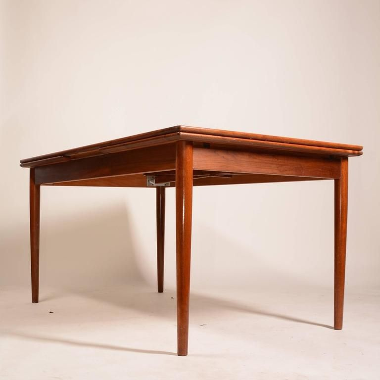 Large Danish Modern Draw Leaf Dining Table In Teak Dining Table Teak Dining Table Table