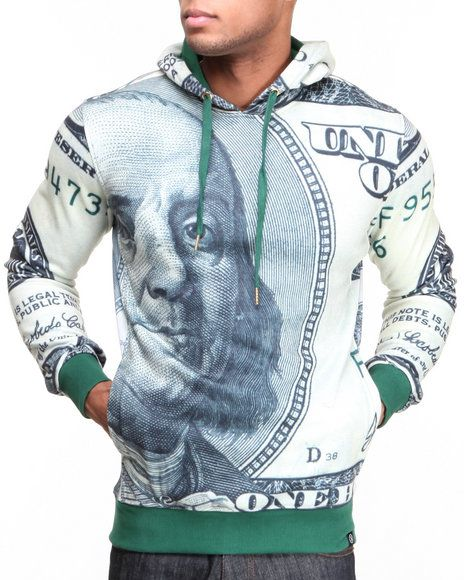 The Big Face Pullover Hoodie by Hudson NYC features: US Sizing Drawstring adjustment on non-removable hood All-over, over-sized hundred dollar bill graphic Pieced ribbed material on sides Fleece interior Model is wearing size M'