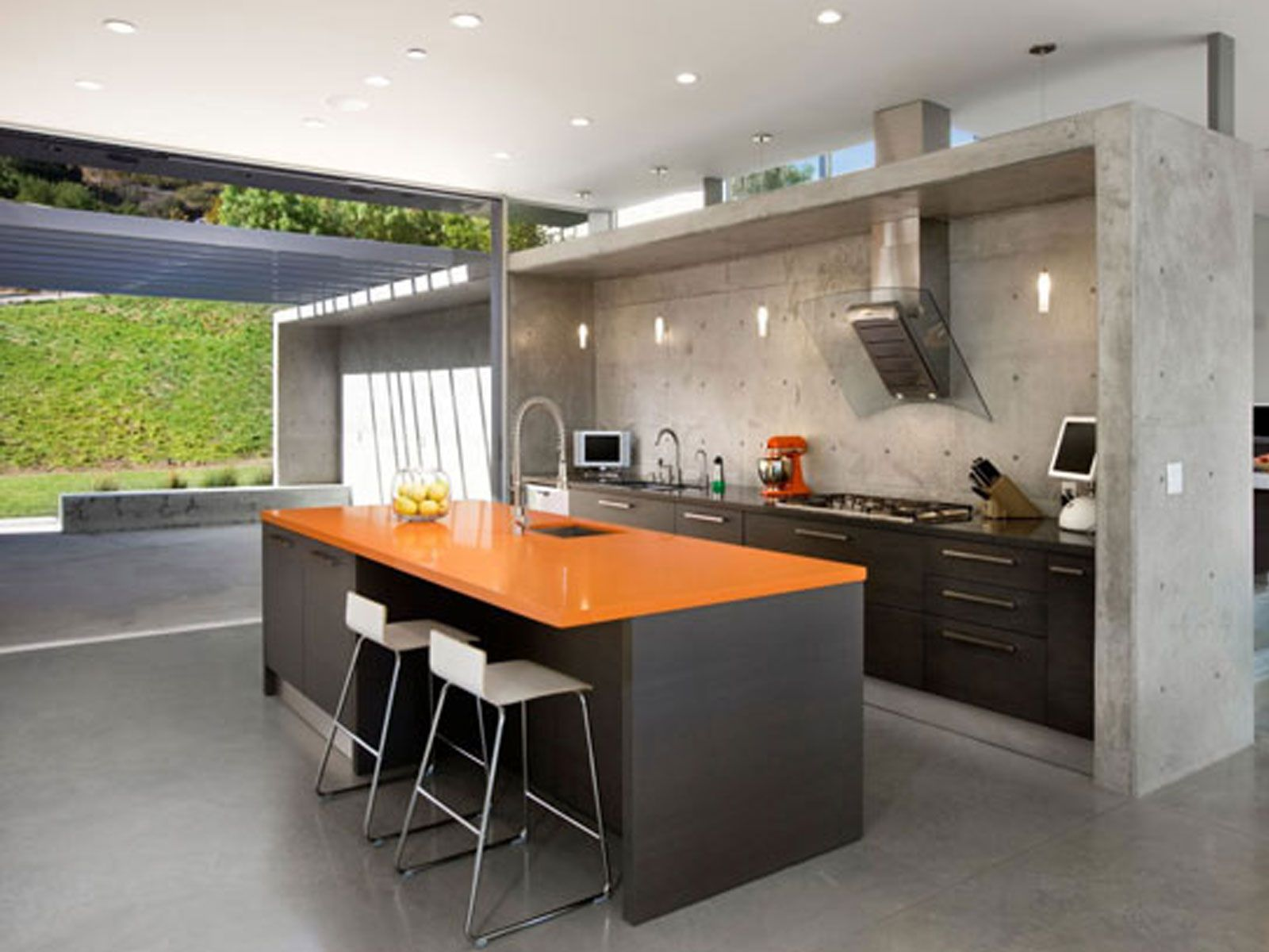 Beauty Your Room Interior Design With Modern Partition Decoration :  Stunning Kitchen Design With Stone Wall Partition Ideas And Black Orange  Kitchen Island ...