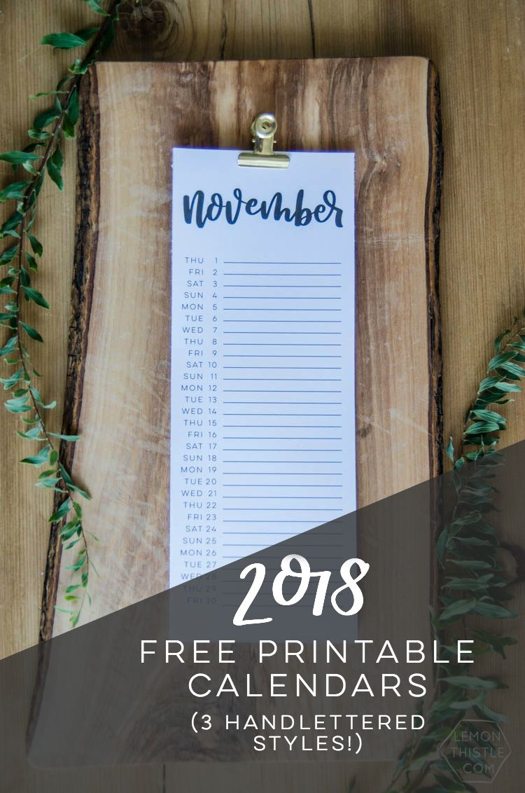 2018 printable calendars hand lettered script so minimal and modern love how simple and elegant they are