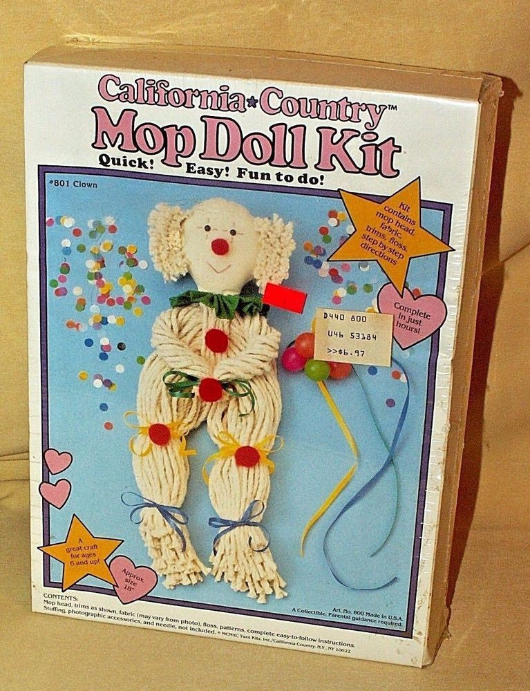 Doll Kit Mop California Country Craft 801 Clown Yarn 1990 800 Usa 18 In Sealed Yarnkitsinc Country Crafts Stuffed Toys Patterns Crafts