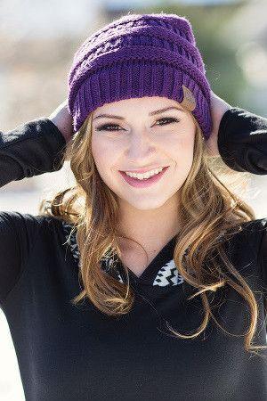 Slouchy Knit CC Beanie (Dark Purple)