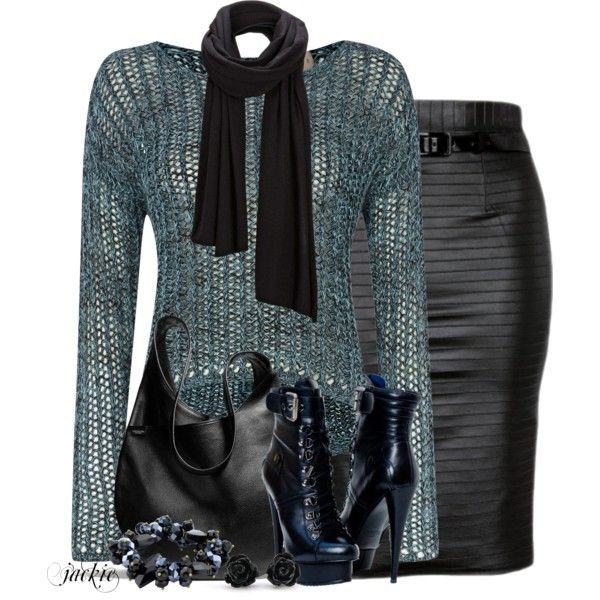Leather Skirt and Boots, created by jackie22 on Polyvore